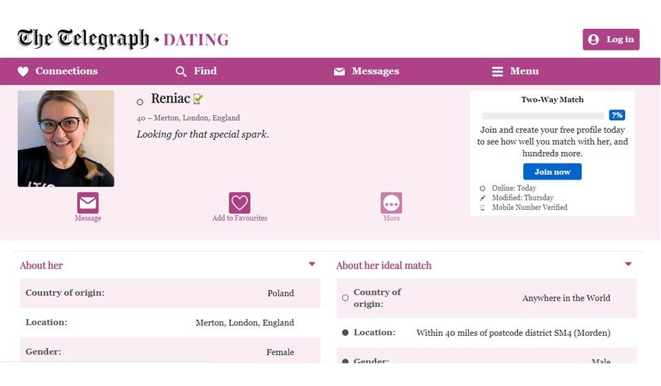 telegraph dating search profiles