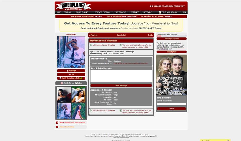 Motards célibataires en ligne